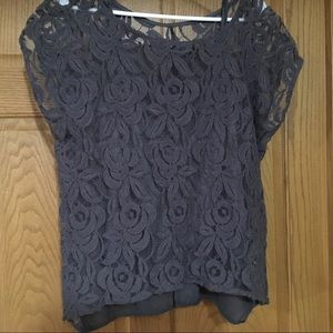 Charcoal lace front blouse with cami